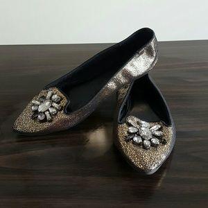 Express Bronze metallic loafers
